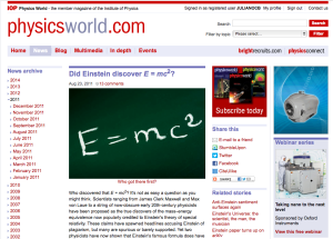 Did Einstein discover E = mc2? - Physics World