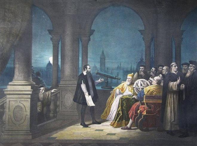 Galileu Galilei apresentando seu telescópio