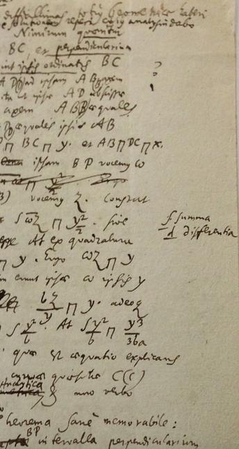 Primeira aparição do símbolo de integral em notas de Gottfried Leibniz
